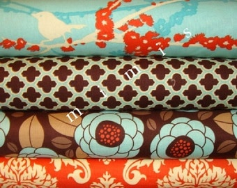 AVIARY 2  Joel Dewberry / Bloom in Bark, Damask in Saffron, Sparrows in Aqua / 4 Half Yard Pack   Cotton Quilt Fabric
