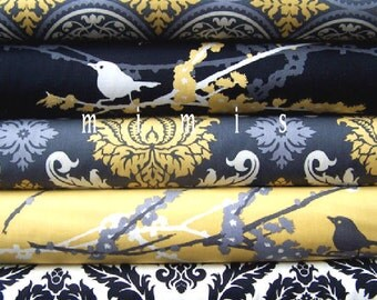 Joel Dewberry Fabric / Aviary 2 Collection / 5 FULL Yard Bundle  Vintage Yellow  Cotton Quilt Fabric
