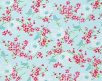 Birdy in Blue / Sugar Hill by Tanya Whelan /1 Yard Quilt Fabric