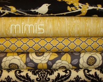 Joel Dewberry Fabric /  5 Half Yard Bundle / Vintage Yellow  / Aviary 2 - Cotton Quilt Fabric