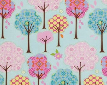 1/2 yard Trees in Blue / Pretty Little Things  by Dena Designs -  Cotton Quilt Fashion Fabric