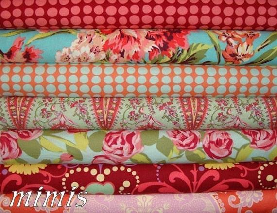 CAP 1 HEART / Amy Butler  Fabric  /  Love /  7 Half Yard  Bundle / Cotton Quilt / Apparel Fabric