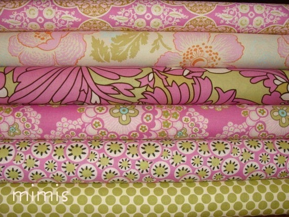 Amy Butler Daisy Chain Fabric PINK, Lime, 6 Fat Quarters  Quilting, Apparel Fabric