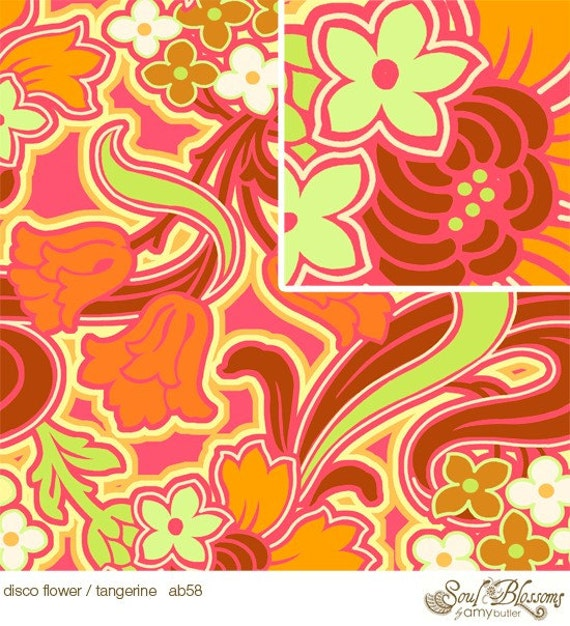 Soul Blossoms Fabric by  Amy Butler /  Disco Flower in Tangerine / 1 Yard Cotton Quilt Fabric