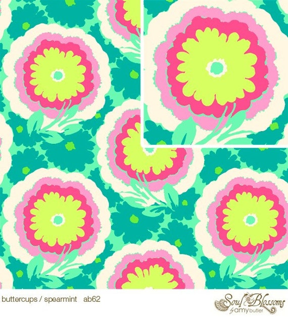 Amy Butler Fabric /  Soul Blossoms / Buttercups in Spearmint - 1 Yard Quilt Fabric