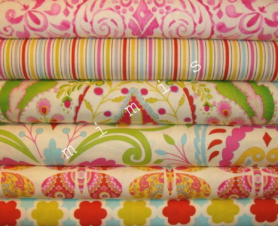 Dena designs fabric kumari garden sujata in pink 1 yard for Kumari garden fabric by dena designs