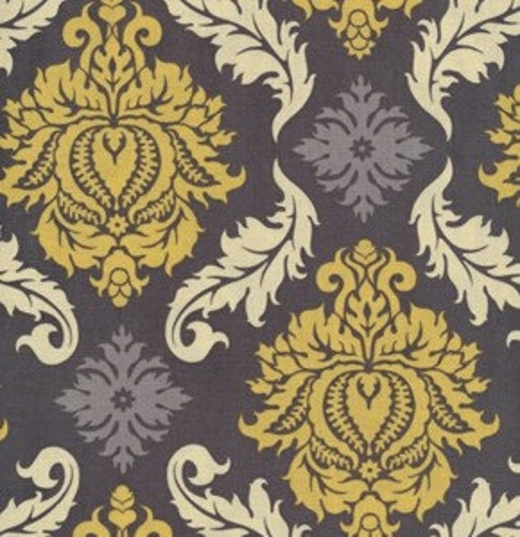Joel Dewberry Fabric / Damask  in Granite  /  AVIARY 2  Cotton Quilt Fabric 1 yard