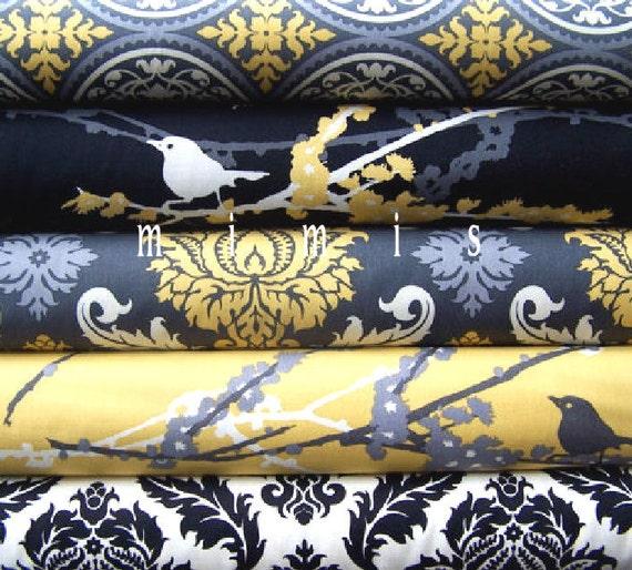Joel Dewberry Fabric /  5 Fat Quarter Bundle   / Vintage Yellow  / Aviary 2 - Cotton Quilt Fabric