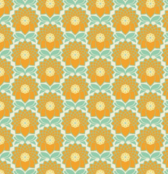 LAST YARD Joel Dewberry Fabric / Chrysanthemum in Jade  Heirloom Collection Cotton Quilt Fashion Fabric 1 yard