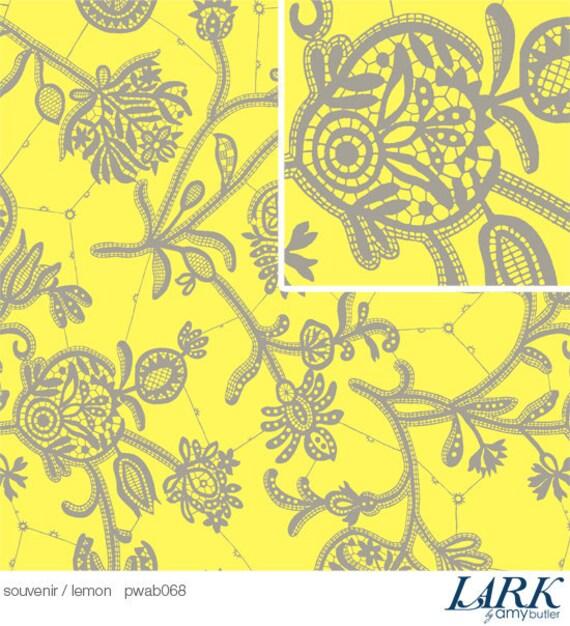 LAST 1/2 yard Amy Butler Fabric / Souvenir in Lemon  / LARK Collection  - Cotton Quilt / Fashion Fabric