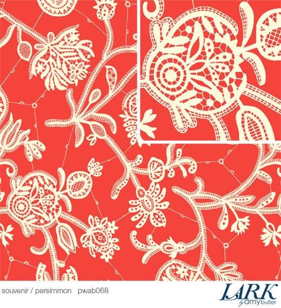 LAST 1/2 YARD Amy Butler Lark  Fabric / Souvenir in  Persimmon / LARK Collection  -  Cotton Quilt / Fashion Fabric