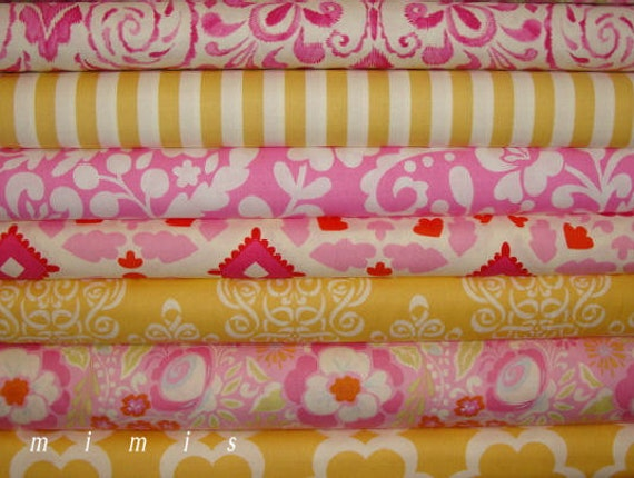 Dena Designs Fabric / PINK and YELLOW  / 7 Half Yard  Bundle - Cotton Quilt   Fabric