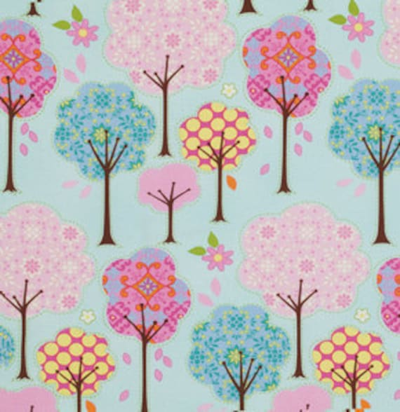 LAST 3/4 ydTrees in Blue / Pretty Little Things  by Dena Designs  Cotton Quilt Fashion Fabric
