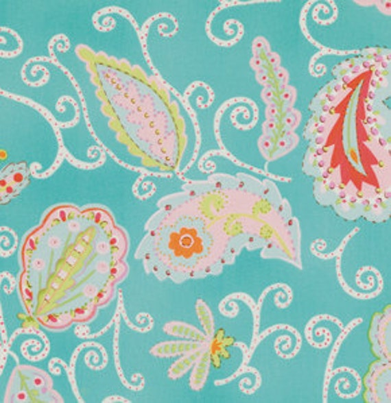 Last Yard  Pretty Little Things Fabric by Dena Designs / MADALEIN in TEAL- 1 Yard Cotton Quilt Fashion Fabric