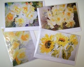 4 blank watercolour cards - Yellow Flower Collection