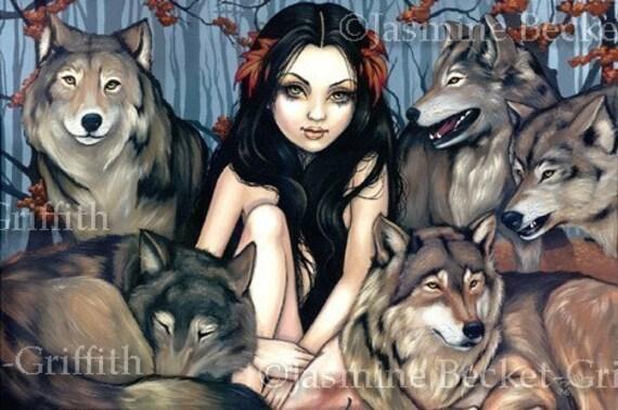 Raised by Wolves gothic fantasy fairy tale fairytale WOLF werewolf art print by Jasmine Becket-Griffith 18x12 BIG