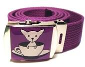 Teacup Chihuahua Canvas Belt Purple