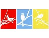 Primary Colored Birds Notecard Set of Three