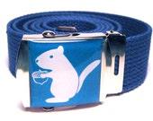 Squirrel Holding an Acorn Canvas Belt Blue