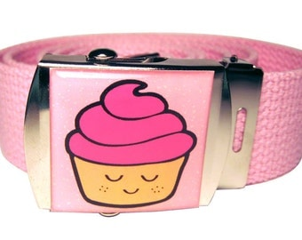Pink Cupcake Canvas Belt