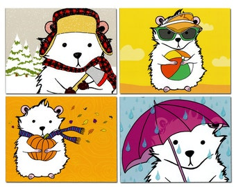 Seasonal Hamster Flat Note Card Set of Eight