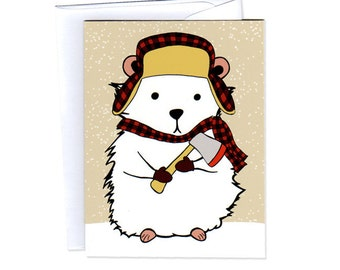 Lumberjack Hamster Set of Six Cards, Envelopes, and Stickers