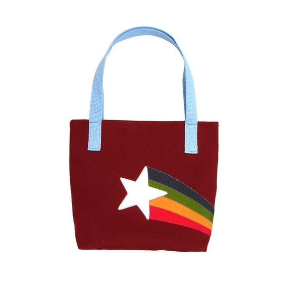 Retro Starburst Felt Appliqued Maroon Canvas Tote Bag Purse