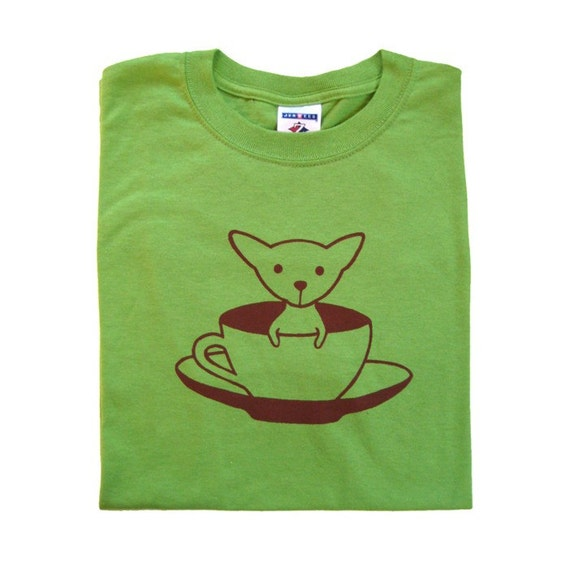 Teacup Chihuahua Green Adult Screen Printed T-Shirt - SIZE MEDIUM ONLY