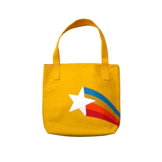 Retro Starburst Tote Bag Purse Yellow