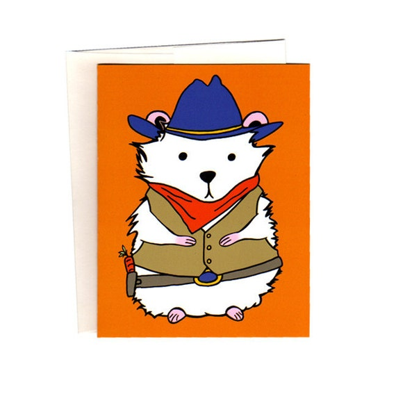 Wild West Cowboy Hamster Set of Six Cards, Envelopes, and Stickers
