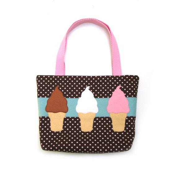 Soft Serve Ice Cream Trio Tote Bag Purse