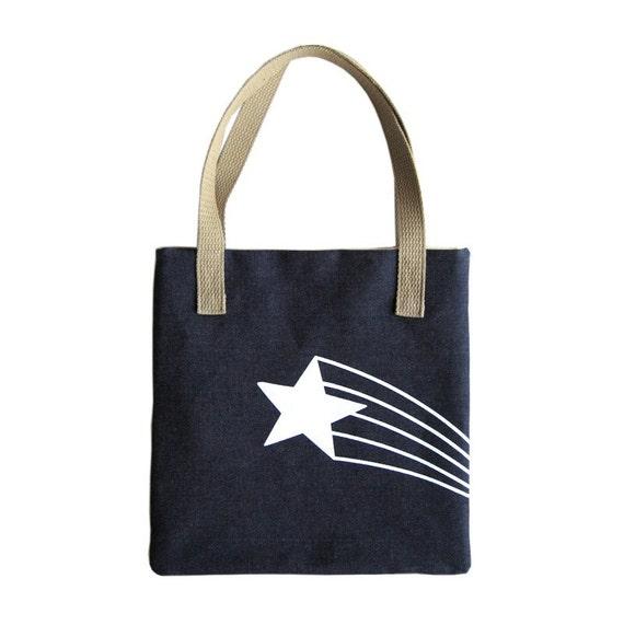 SALE Retro Starburst Denim Tote Bag Purse