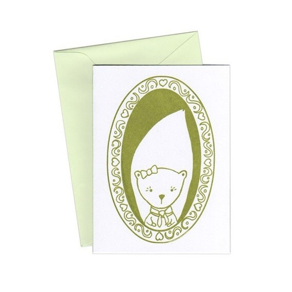 Miss Squirrel Notecards Set of Three Gocco Print Cards