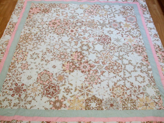 New Handmade Kaleidoscope Quilt Throw Full Queen Shabby French Country Chic Cottage BED OF ROSES