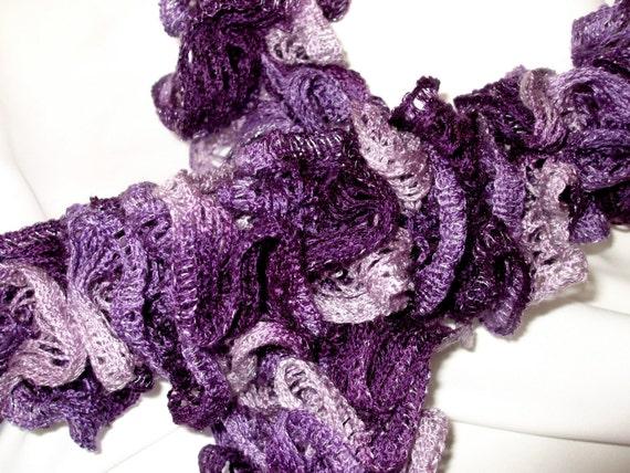 "Handmade Knit Ruffle Scarf BOOGIE Lilac Purple Silver Lavender Mesh Net 65"" Long FREE SHIPPING"