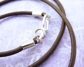2 Leather Cords, necklace, Dark Brown or Black, for pendants -  Choose length up to 24 inch