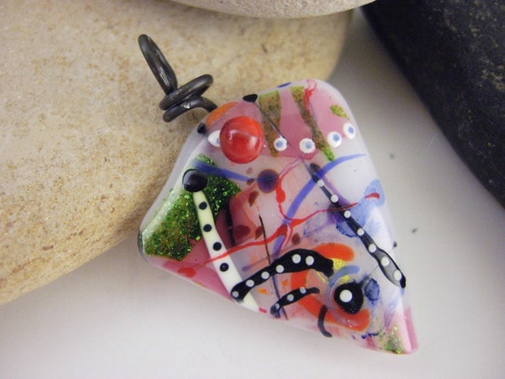 Fused Glass Graffiti Pendant- Slice
