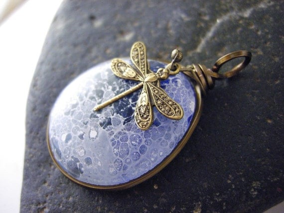 Fused glass pendant, handmade glass jewelry - Dragonfly Moon