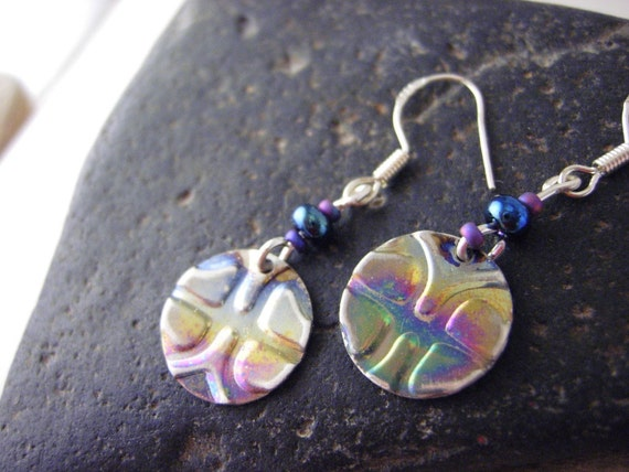 Metal earrings, Embossed Metal earrings- Rainbow Disks