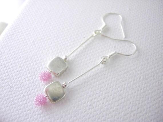 Long Earrings, Handmade Jewelry, glass beaded earrings- Precious time