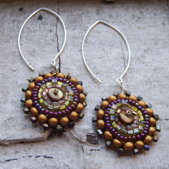 Bead Embroidered Earrings .. Matches the Urchin Necklace