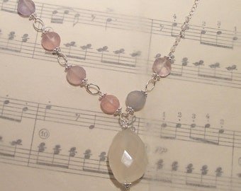 Charlotte - Chalcedony and rose quartz necklace