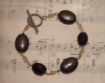 Hillary - Citrine, pyrite, and smoky quartz bracelet