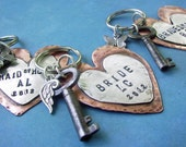 HEARTFELT - Hand Stamped Rustic Antiqued Copper and Sterling Silver Key CHAIN - Custom Personalized Anniversary, Wedding, bridesmaid gift
