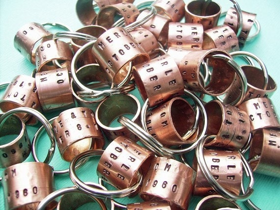 Ringy Ding - Personalized Hand-Stamped Antique Copper Key Chain gr8 for Teachers, Mothers Day, Party Favors, Pet Id Tags