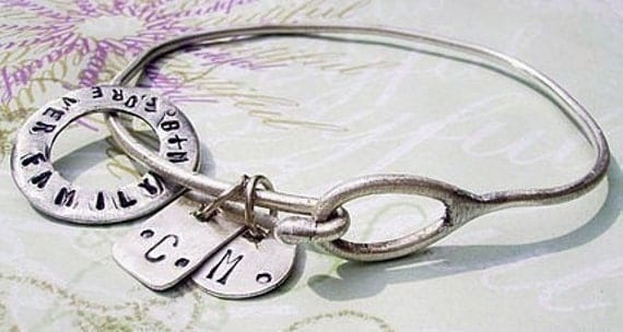 EMBRACE THE CHARMS - Hand Stamped custom Sterling Silver Bracelet w Organic Open Disc and 2 shapes - personalized
