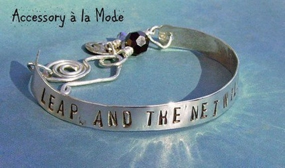 Hand Stamped Poetic Bangle - Custom Sterling Silver Bracelet - You choose Name, Word, Phrase, Quote for personalization