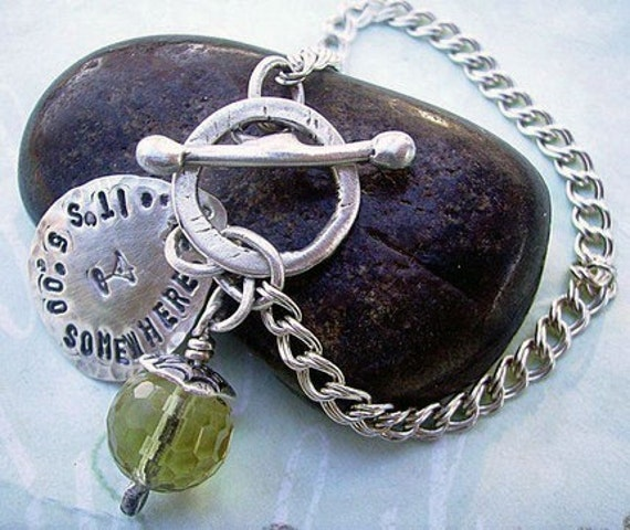 Bauble - Hand Stamped Forged Sterling Silver Toggle Close Bracelet - Personalized and customized