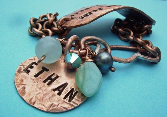 Hand Stamped Custom Personalized Antiqued Copper Id Band Bracelet  w disc and beads - You choose Words, Names, Colors