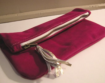 CLEARANCE Fuchsia Suede Fold-Over Clutch